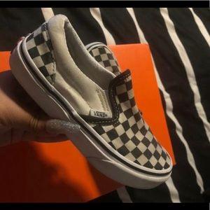 Kids vans slip on 1y 1 checkered black white